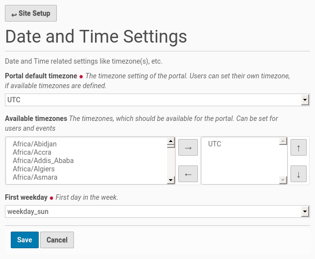 Date and time setup configuration